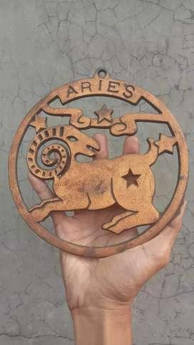 Logo rasi zodiac Aries..bahan besi cor