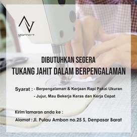 Diperlukan TUKANG JAHIT/PENJAHIT Berpengalaman di Garment Denpasar
