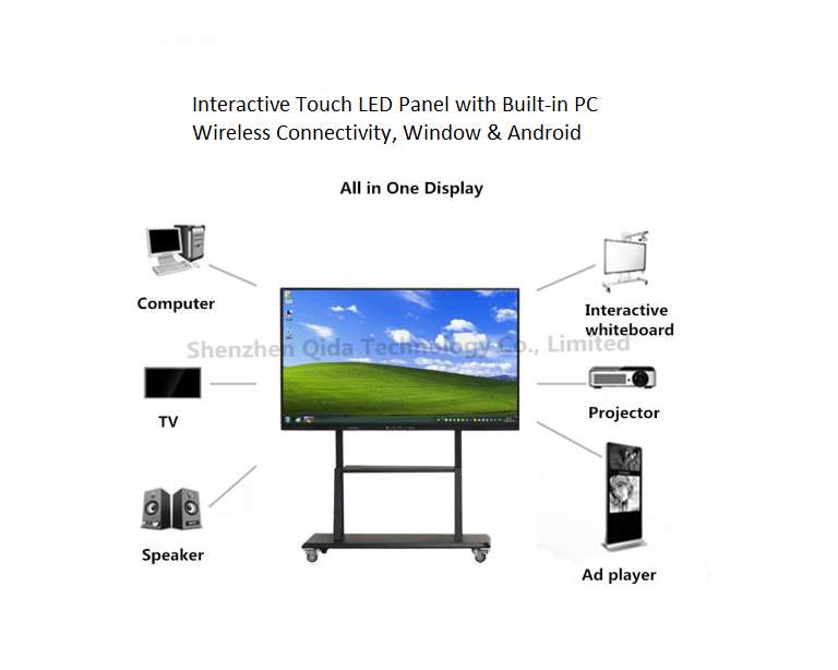"""Interactive Touch Screen LED Smart Flat Panel 4K UHD 65"""" Built-in PC"""