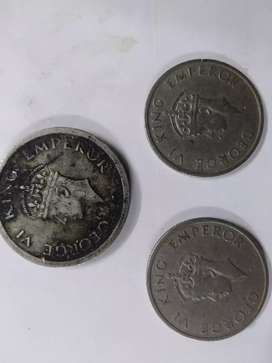Old&Antique Coins-George VI King's One Rupee1947,Half Rupees1946&1947