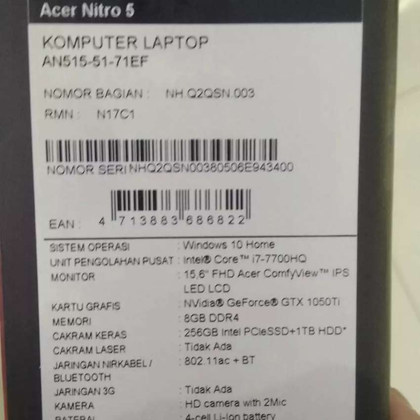 laptop gaming acer predator nitro 5 0