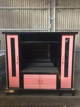 Bufet tv sedang avanza murah warna pink hitam teriplek tebal
