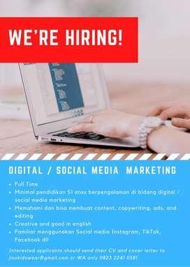 dicari social media marketing / digital marketing olshop denpasar