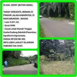 Dijual Tanah Murah (Bu) di pinggir Jalan Daerah Rancabungur Bogor 001