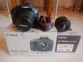 Di jual camera canon dlsr 1500 D lensa kit 18-55 mm + lensa fix 50 mm