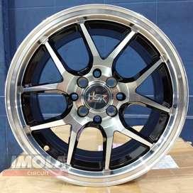 Velg mobil murah Black polis murah ring 15 HSR wheel lubang 4 Brio
