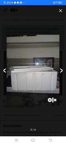 Thermocol storage ice box.