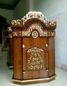 mimbar masjid kayu jati mulus
