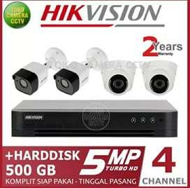 Paket CCTV Hikvision 5MP Turbo HD 4 chanel .GRATIS PEMASANGAN Jogja.