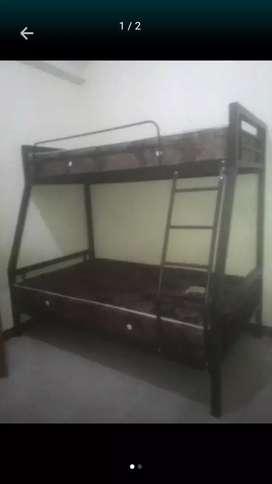 Furniture 1 paket ranjang susun+kasur sepringbed javalend 120x90x200