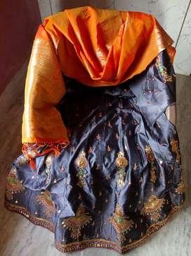 Grey, gold, orange satin lehenga set with banarasi dupatta