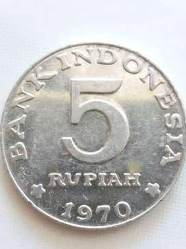 Jual uang koin kuno pecahan Rp 5