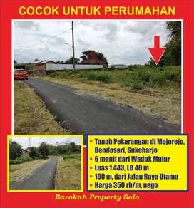 Tanah Pekarangan Murah Luas 1443 di Bendosari Cocok untuk Perumahan
