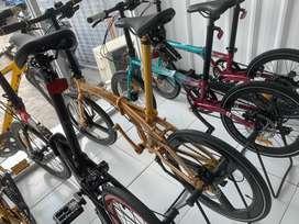 Element Element Folding Bike Ecosmo Gold Edition 11 Speed Velg Carbon
