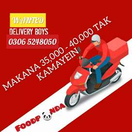 Delivery boy and rider jobs full-time and part time available