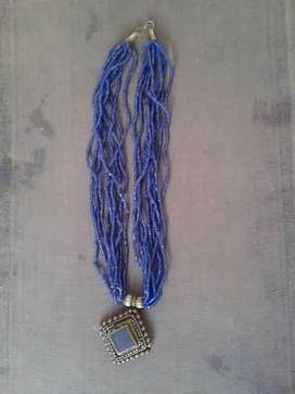 Neckless  Blue with oxidized pendent