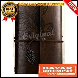 Buku Catatan Binder Kulit Retro Leaf Kertas A5 Coffee
