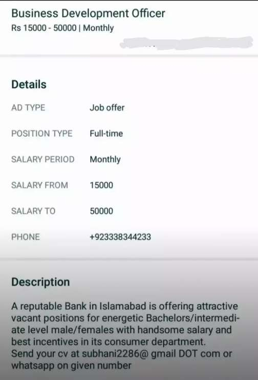 Sales Executive for Bank in Islamabad