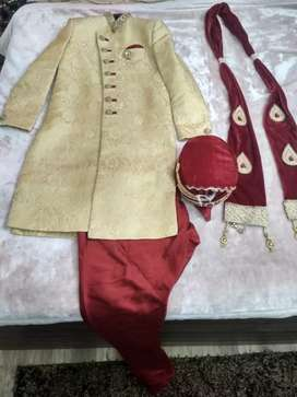 70% discount on Wedding Sherwani full set with pagdi and stole