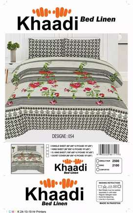 Pure Cotton King Size Bedsheet with 2 pillows