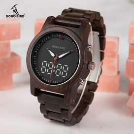 BOBO BIRD Jam Tangan Digital Analog Pria Bamboo Watch - R02 - Brown
