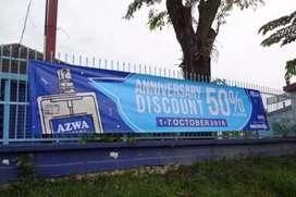 Printing spanduk banner umbul umbul stiker kaca film oneway di Solo
