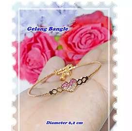 Xuping Gelang tangan love pink gold