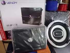 "Paket Power Venom 4Chnl,Sub Venom 12"",Box sub mdf+Instalasi+pSng"
