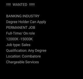 !! BANKING INDUSTRY !! ONLY FEMALE CANDITATES WANTED !!