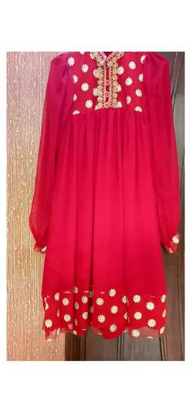 Red and golden frock 1 piece
