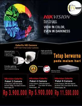 paket cctv hikvision colorVu siang malam berwarna