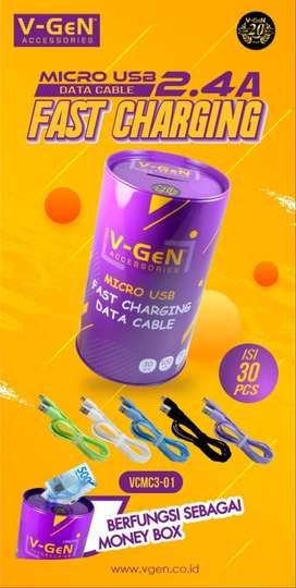 Kabel Data MicroUSB VCMC3-01 Fast Charging 2.4A 1 Kaleng 30pcs