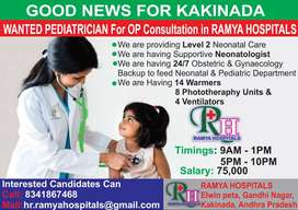 Urgently Required PEDIATRICIAN for Ramya Hospitals