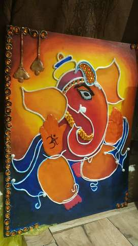 Clay mouldit lord ganesh(hand made)