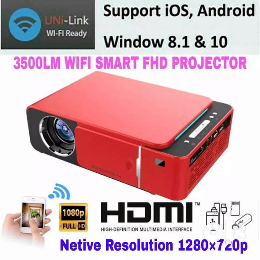 T6 WI-FI MIRACAST 1280P HD SMART HOME THEATER LED VIDEO PROJECTOR