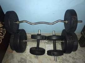 Straight barbel,curl barbel,dumbble total 50kg weight
