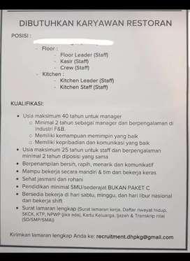 Loker Resto/ loker cafe  LEADER,floor,crew,cashier