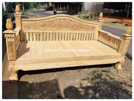 bale bale jati, daybed kayu ukir minimalis jepara mpb19960