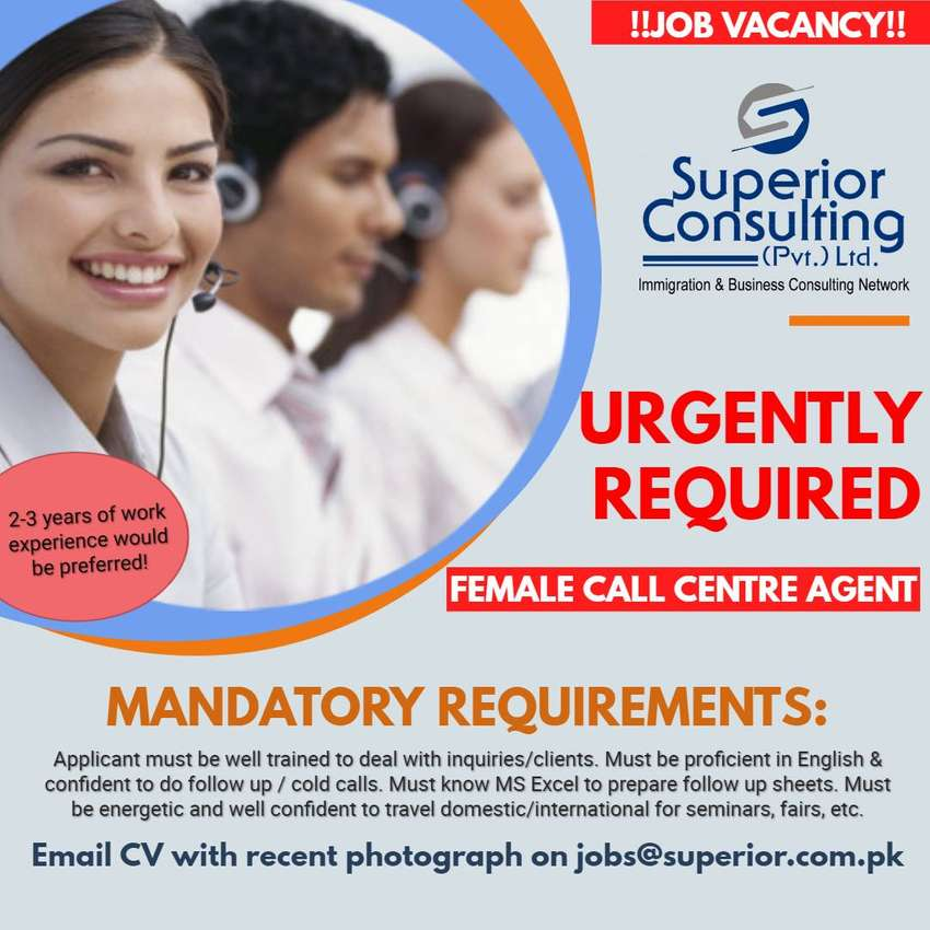Female Call Centre Agent: Urgently Required 0