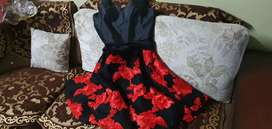 Red and black floral skirt