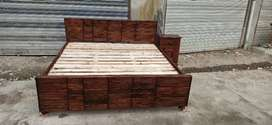 King size walnut double bed