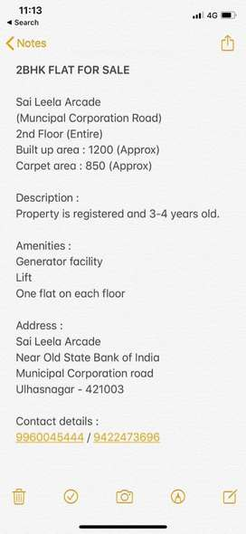 2BHK flat Available for sale