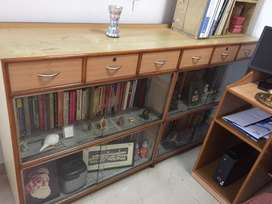 Wooden glass cabinet book self