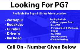 PG For Boys At Prime Location-Vastrapur,satellite,Bodakdev,SG Highway