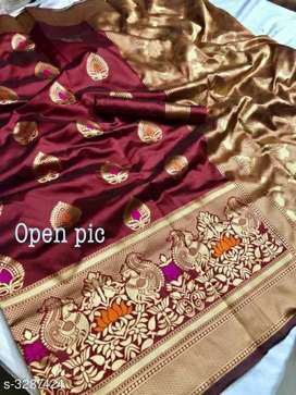 Attractive Silk Zari Weaving Saree