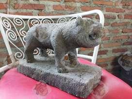 Patung Batu pahatan berbentuk macan tua