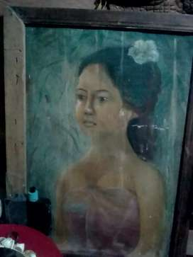 Lukisan tua asli gadis bali klasik asli