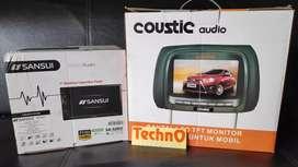Tv mobil jok sandaran headrest 2 pcs + doubledin tape 7 in usb radio