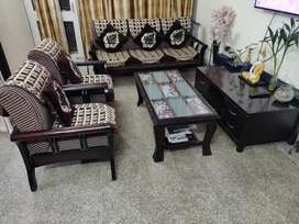 5 seater sofa set + centre table + side table with 5 drawers