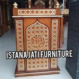 mimbar masjid Mimbar podium kayu jati